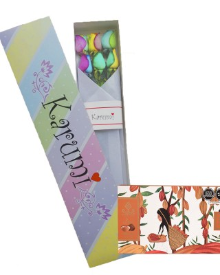 Caja 6 Rosas Arcoiris+Chocolate Linaje GRATIS