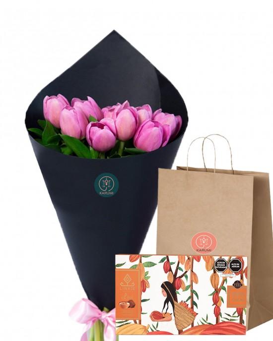 Karumi Pack Ramo 10 tulipanes+Chocolate Linaje 60gr