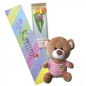Caja 6 Tulipanes + Osito