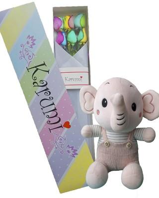 Caja 6 Rosas Arcoíris+Elefantito